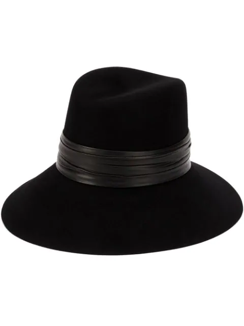 SAINT LAURENT NINA LEATHER AND FELT HAT