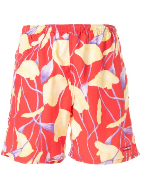 Supreme Floral Print Swim Trunks In Red Floral | ModeSens