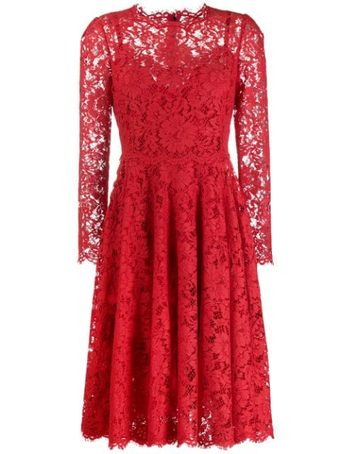Cotton Blend Guipure Lace Dress In Red