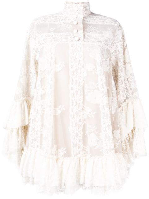 Lace Shift Dress In Neutrals