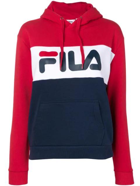 outlet te koop buy outlet winkel Fila Logo Colour-Block Hoodie In Blue   ModeSens