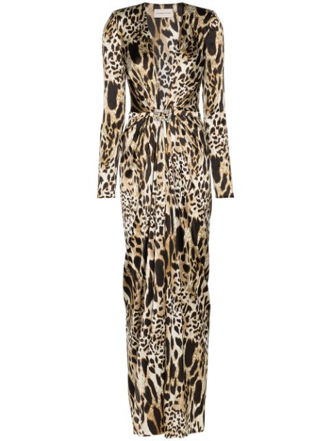 Alexandre Vauthier Crystal-embellished Animal-print Stretch-silk Satin Gown  In Black | ModeSens