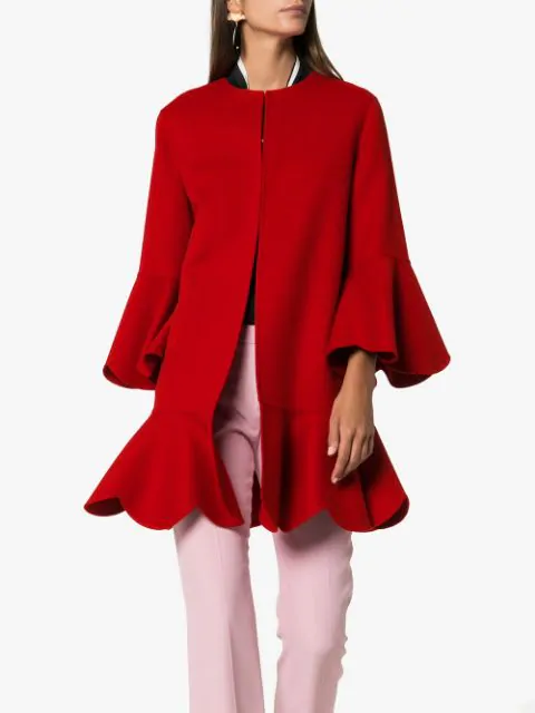 VALENTINO COLLARLESS RUFFLED COAT