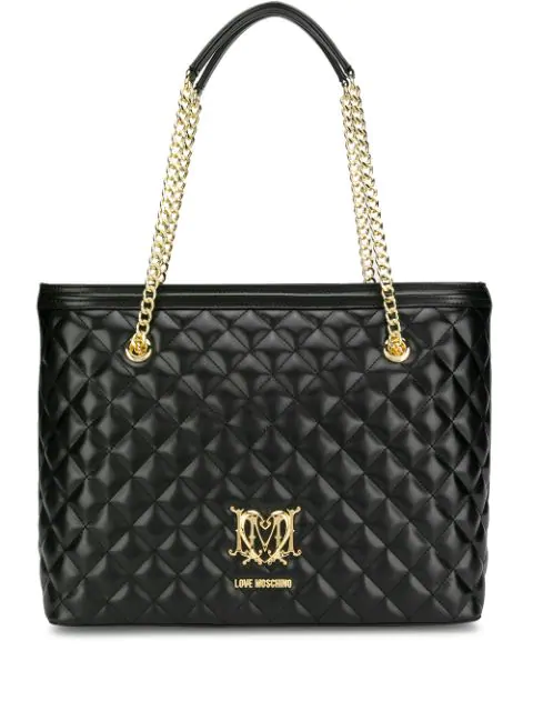 running shoes pretty nice official photos Love Moschino Quilted Effect Tote Bag In Black   ModeSens