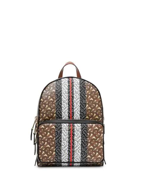 Happy Camper Print Monogrammed School Backpack Brown Trim