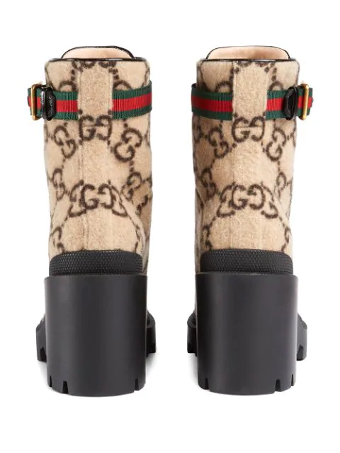 GUCCI BEIGE GG LOGO WOOL ANKLE BOOT