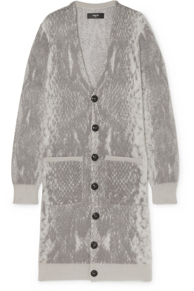 OVERSIZED SNAKE INTARSIA WOOL AND CASHMERE BLEND CARDIGAN