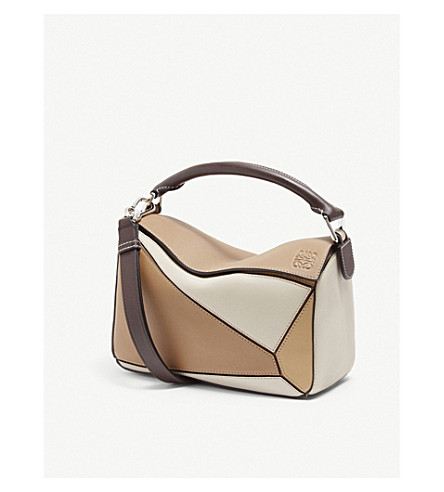 Loewe Puzzle Small Leather Shoulder Bag In Mocca Multitone Modesens