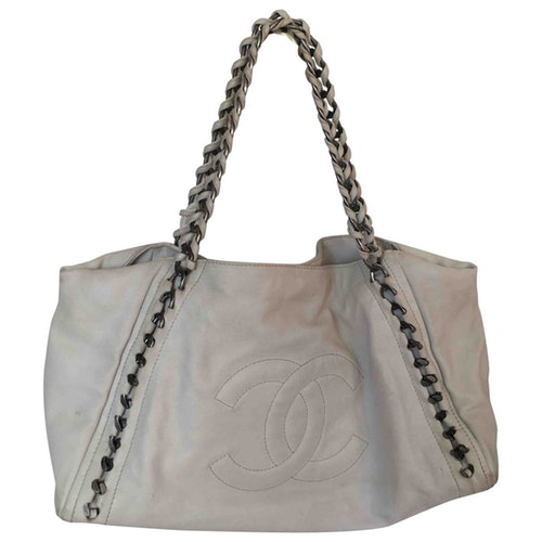 chanel coco cabas white leather handbag modesens