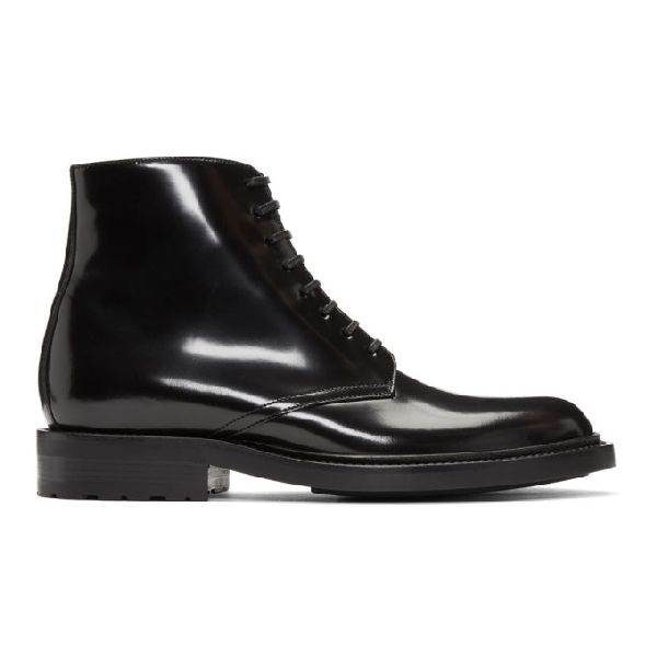 Army 20 High shine Leather Ankle Boots In 1000 Black