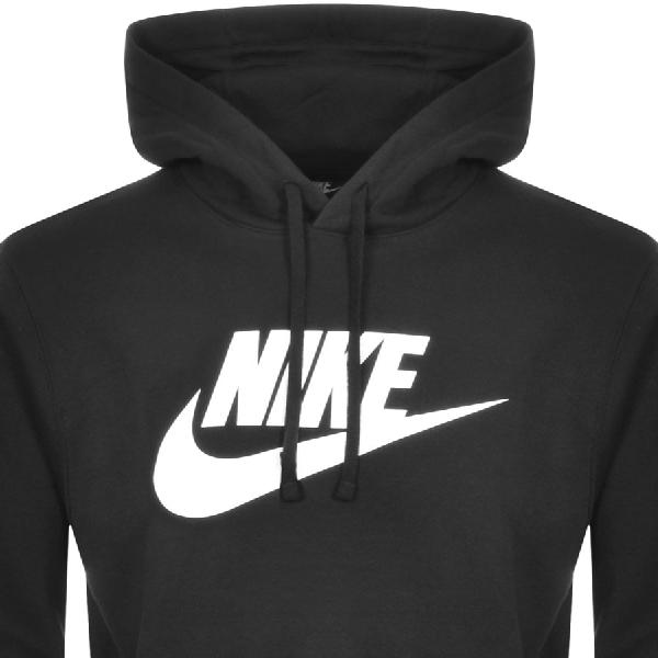 nike swoosh logo hoodie in black
