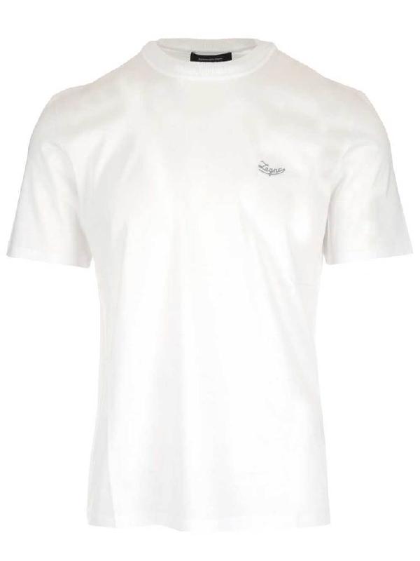杰尼亚logo_Ermenegildo Zegna Logo Crewneck T In White   ModeSens