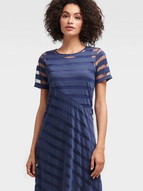 Dkny Striped Asymmetrical Hem Dress In