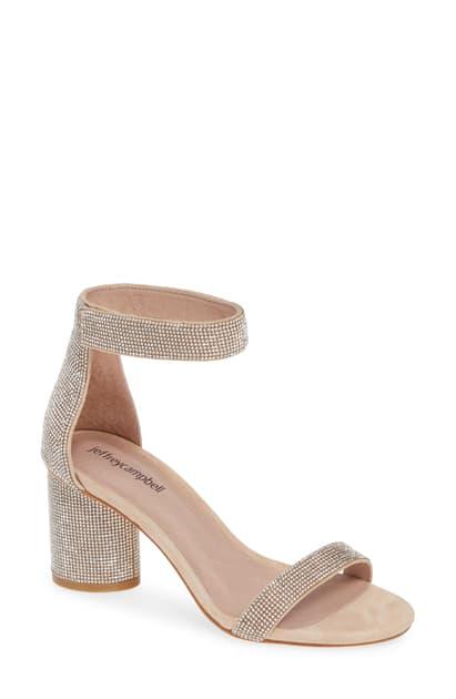 Women S Laura Js Embellished Block Heel Sandals In Nude Suede Champagne