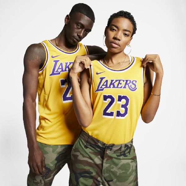 Lebron James Lakers Icon Edition Nba Swingman Jersey In Amarillo,field Purple,white