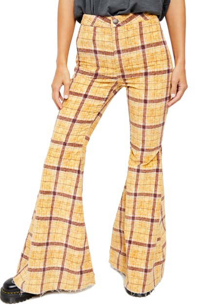 Free People Just Float On Flare High Waist Corduroy Pants In Mustard Plaid Modesens