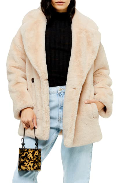 Topshop Cream Soft Faux Fur Double Breasted Coat Size XS/_S/_M/_L   BLOGGERS!