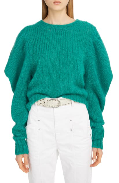 Oversize Mohair Blend Sweater In Forest Green