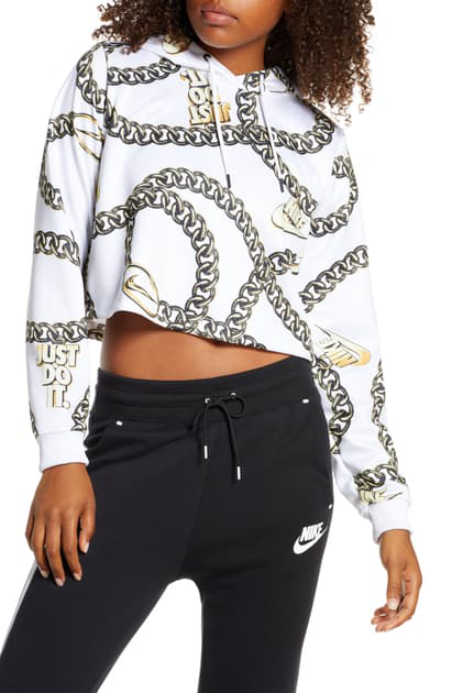 Sportswear Icon Clash Women's Printed Crop Hoodie (plus Size) In White