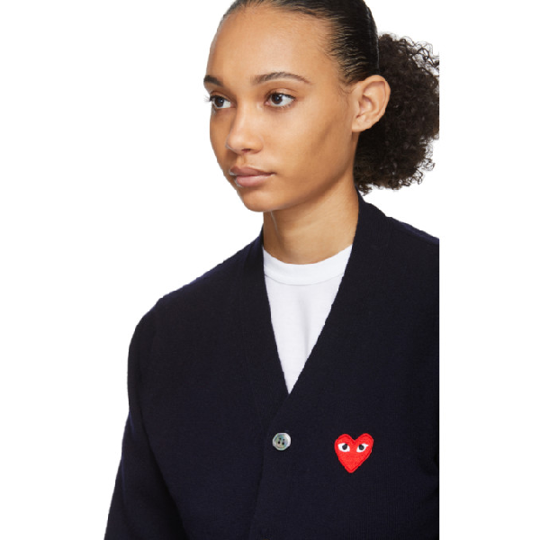 Comme Des Garcons Play Navy And Red Wool Mens Fit Heart Patch V neck Cardigan