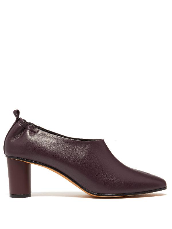 cute classic top fashion Micol Block-heel Leather Pumps In Burgundy