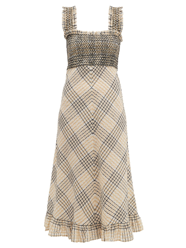 Ganni Checked Shirred Bodice Seersucker Midi Dress In Cream Modesens
