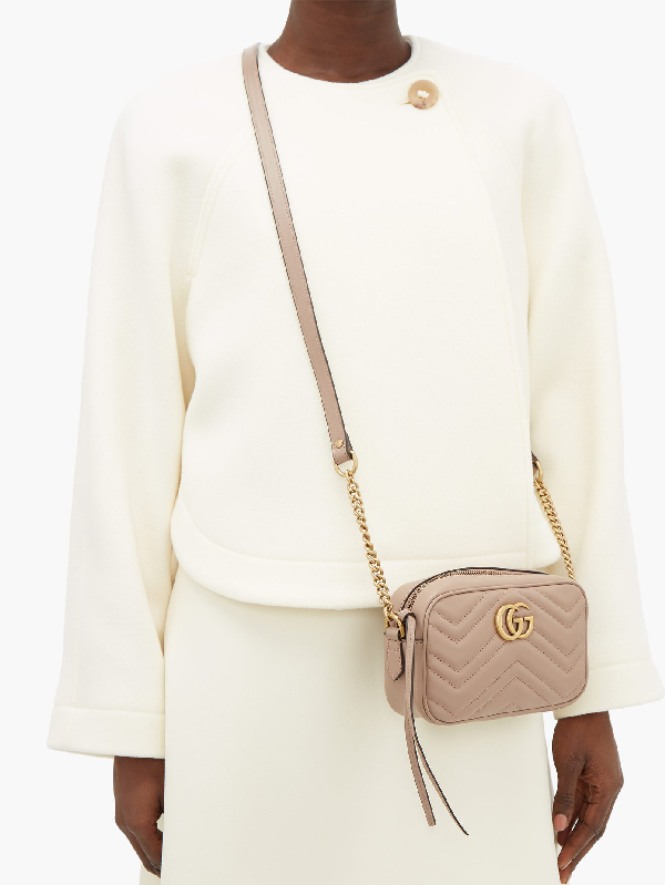 Dusty Pink Leather GG Marmont Small Matelassé Shoulder Bag