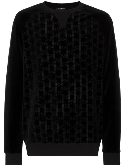 Men's Velvet Monogram Sweatshirt In Black
