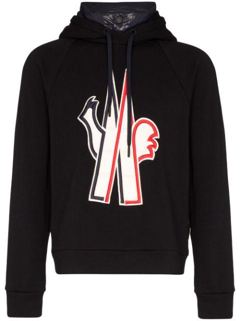 Chenilla Tech Down Sweatshirt Hoodie In Black