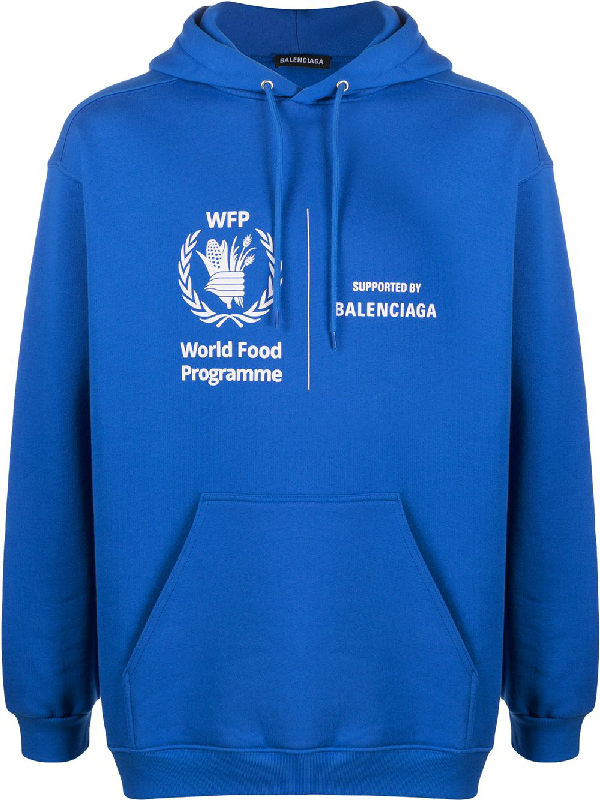 Balenciaga World Food Programme Logo Print Fleece Back Cotton Jersey Hoodie In Blue Modesens