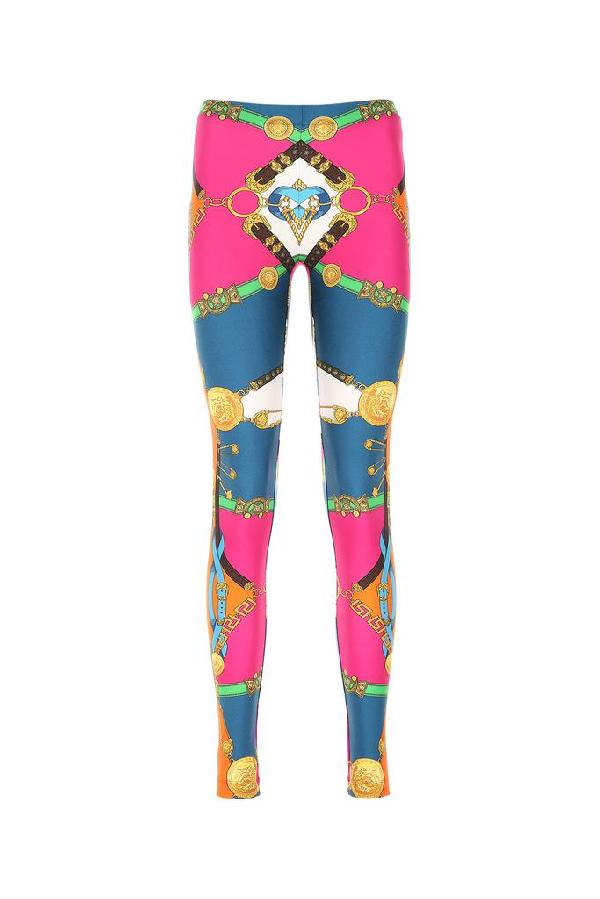 Versace Leggings Mit Barocco Rodeo Print In Blue Modesens