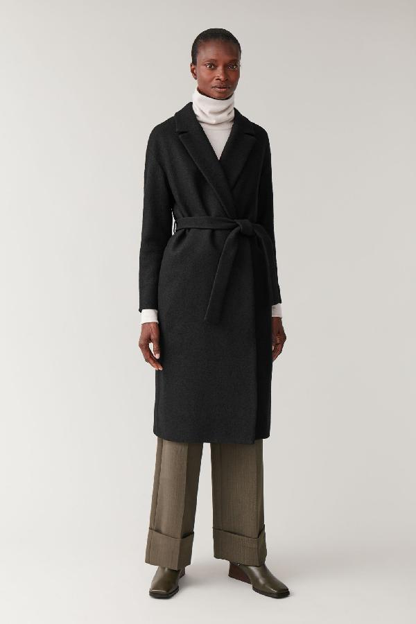 Cos Oversized Belted Wool Coat In Black Modesens