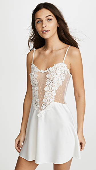 8060 Flora Nikrooz Showstopper Charmeuse Chemise with Venise Lace