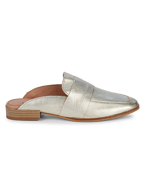 Free People At Ease Leather Mules In Champagne Modesens