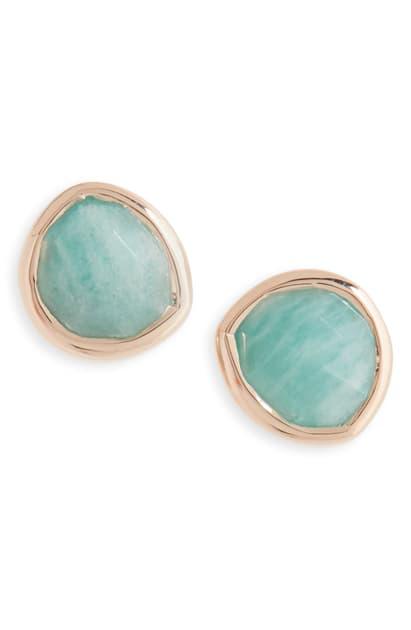 Monica Vinader Siren Semiprecious Stone Stud Earrings Nordstrom Exclusive In Amazonite Rose Gold Modesens