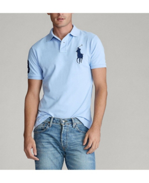 Men's Big Pony Custom Slim-fit Mesh Polo Shirt In Austin Blue