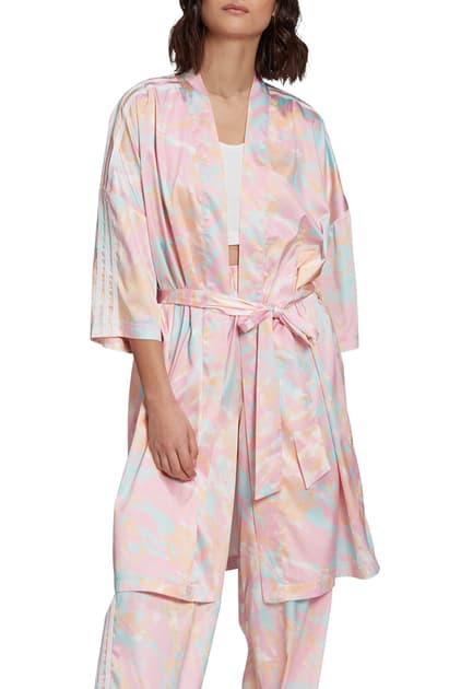 Adidas Originals Adidas Originalls Tie Dye Robe In Multicolor White Pink Blue Modesens