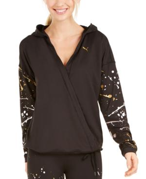 Puma Women's Metal Splash Luxe Wrap Hoodie In Black | ModeSens