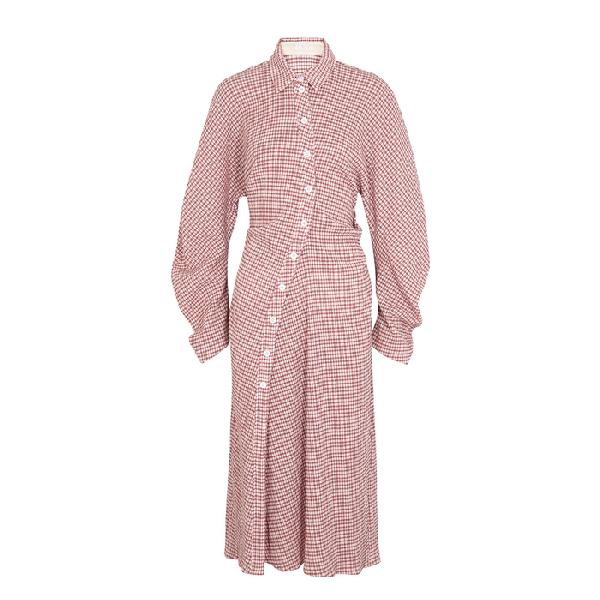 Lorod Gingham Seersucker Shirt Dress In Pink Modesens