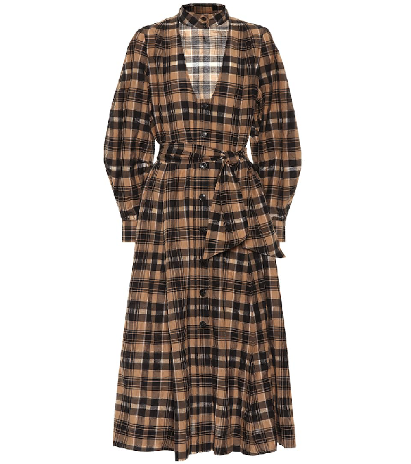 Ganni Belted Checked Seersucker Midi Dress In Beige Modesens