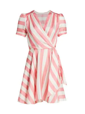 Milly Women S Printed Striped Silk Wrap Dress In Candy Pink Modesens