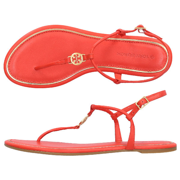 Tory Burch Emmy Logo-embellished Leather Sandals In Red | ModeSens
