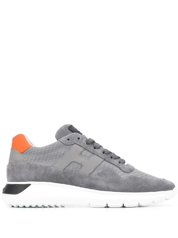 Hogan H371 Interactive³ Sneaker In Gray And Orange Suede And Mesh ...