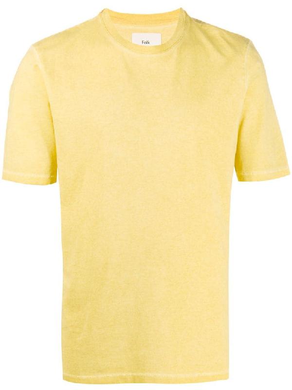 Folk Assembly Garment Dyed Cotton Jersey T Shirt In Yellow Modesens