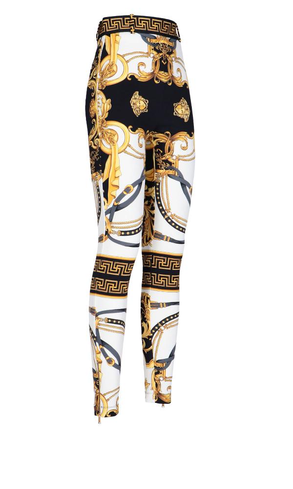 Versace Barocco Rodeo Print Leggings In White Multicolor Modesens