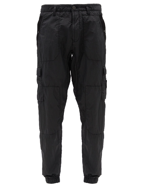 Stone Island Seersucker Cargo Trousers In V0029 Black Modesens