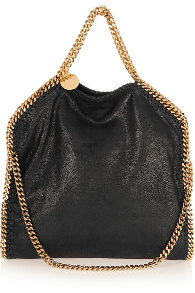 Stella Mccartney The Falabella Medium Faux Brushed-leather Shoulder Bag In Black