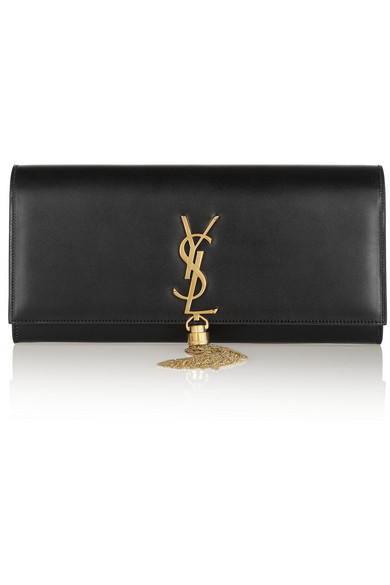 16dae77f84 Saint Laurent Kate Monogram Ysl Full-Flap Clutch Bag In Black
