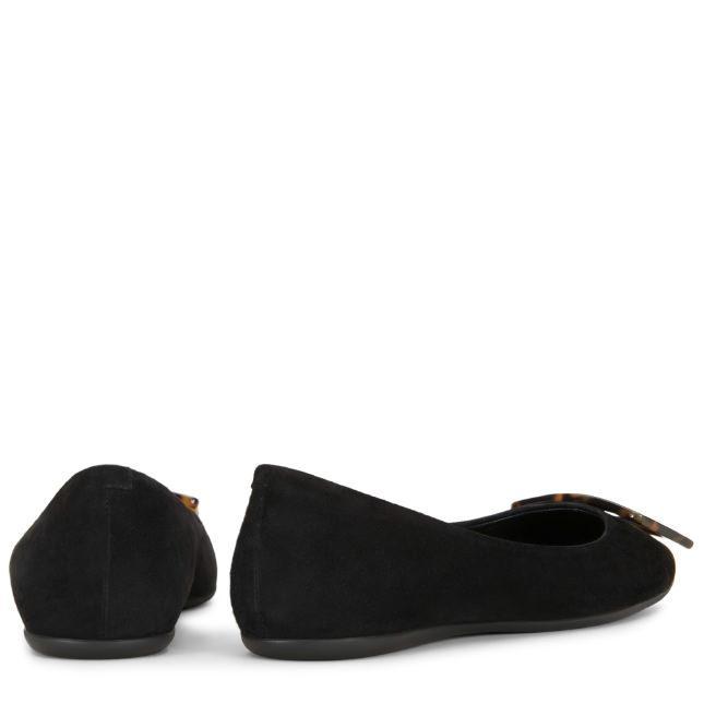 Roger Vivier Gommette Suede Tortoiseshell-Buckle Ballerina Flats In Black
