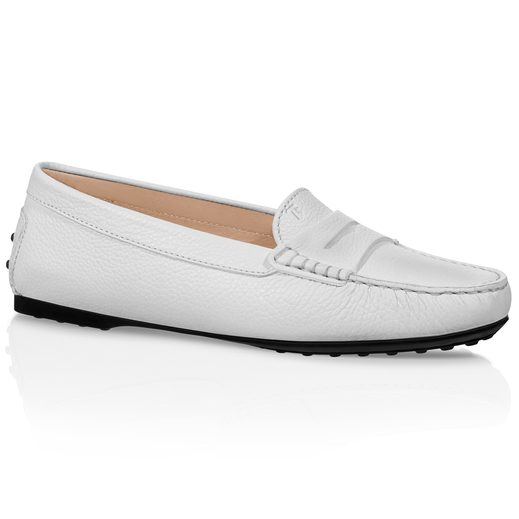 Tod's Python-embossed Suede Gommini Loafers In White
